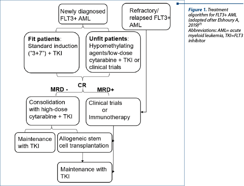 Figure 1. Treatment algorithm for FLT3+ AML (adapted after Elshoury A, 2019)(7) Abbreviations: AML= acute myeloid leukemia, TKI=FLT3 inhibitor