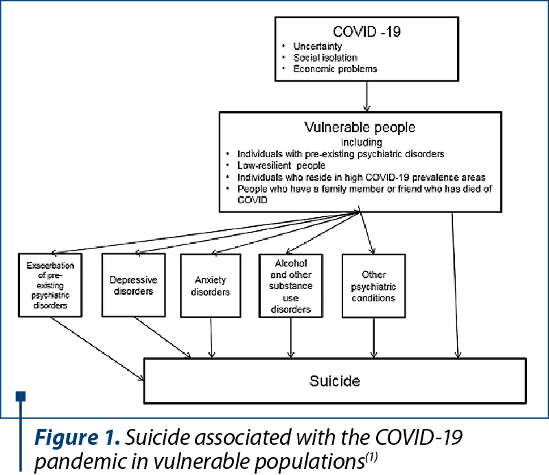 Figure 1. Suicide associated with the COVID-19 pandemic in vulnerable populations(1)