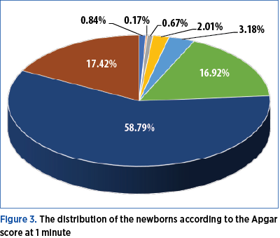 Figure 3. The distribution of the newborns according to the Apgar