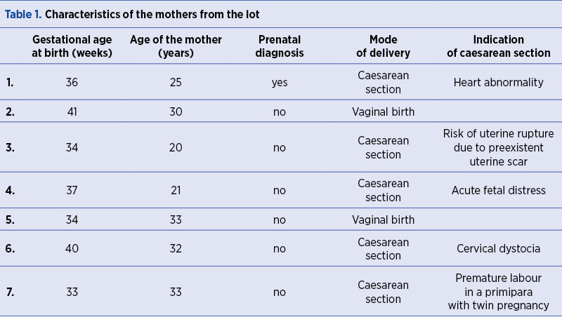 Table 1. Characteristics of the mothers from the lot